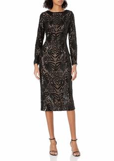 Dress the Population Women's Emery Long Sleeve Stretch Sequin Midi Sheath  L