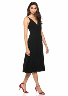 Dress the Population Women's Emily Sleeveless FIT & Flare Button Detail MIDI Dress  XS