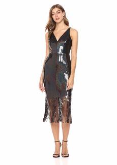 Dress the Population Women's Frankie Plunging Sequin Fringe Sleeveless Midi Dress  XXS