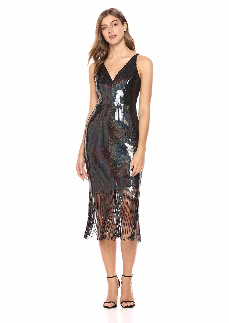 Dress the Population Women's Frankie Plunging Sequin Fringe Sleeveless Midi Dress  XXS