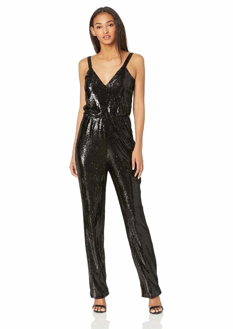 Dress the Population Women's Leigh Sleeveless Sequin Blouson Straight Leg Jumpsuit  XL