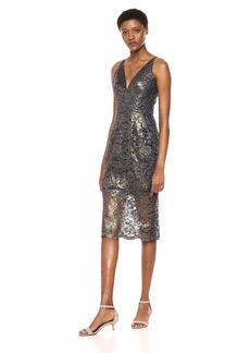 DRESS THE POPULATION Women's Leilani Sleeveless lace Illusion Midi Sheath Dress  M