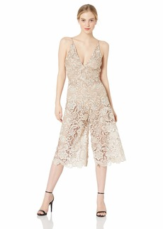 DRESS THE POPULATION Women's Marion LACE Jumpsuit Nude S