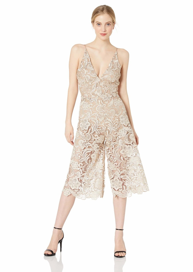 Dress the Population Women's Marion LACE Jumpsuit Nude M
