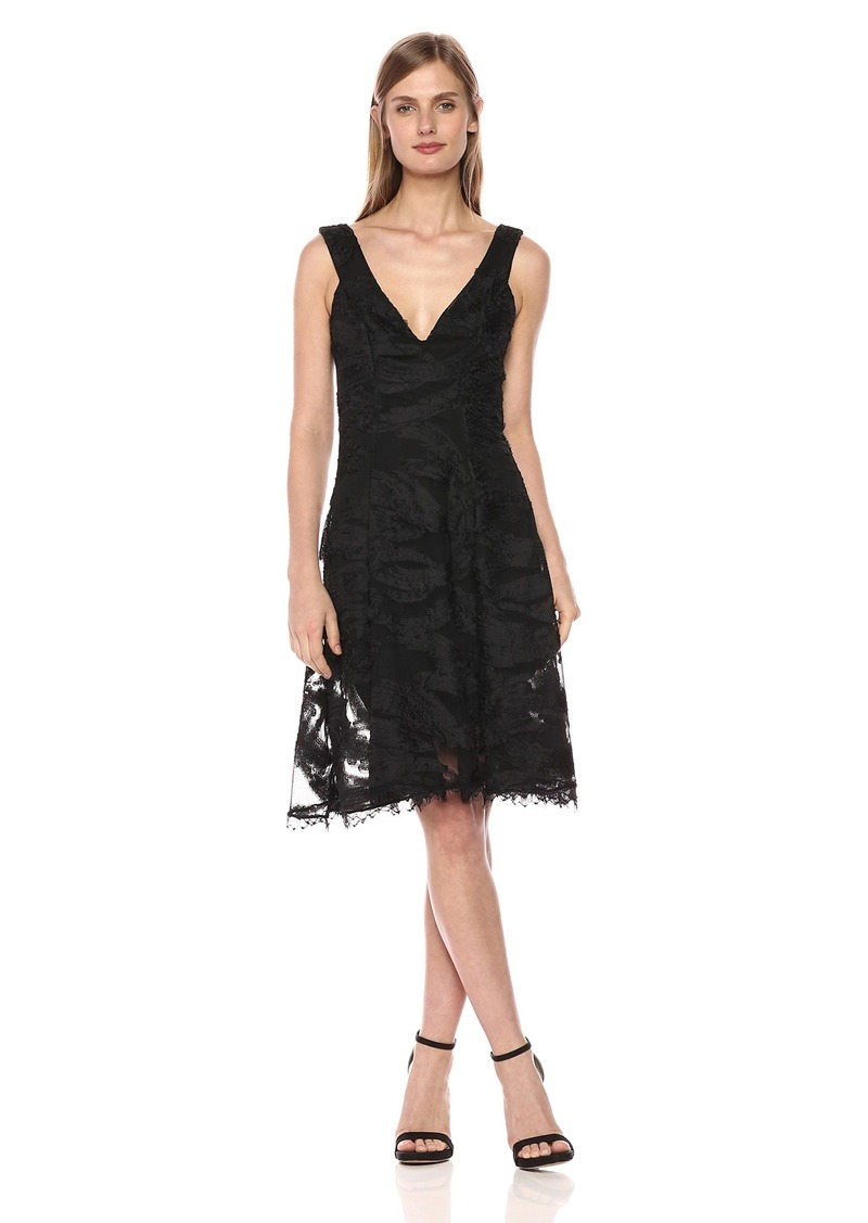 Dress the Population Women's maya floral lace fit and flare dress black M