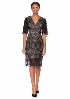 DRESS THE POPULATION Women's MIA LACE Flutter Sleeve Plunging MIDI Sheath Dress  M