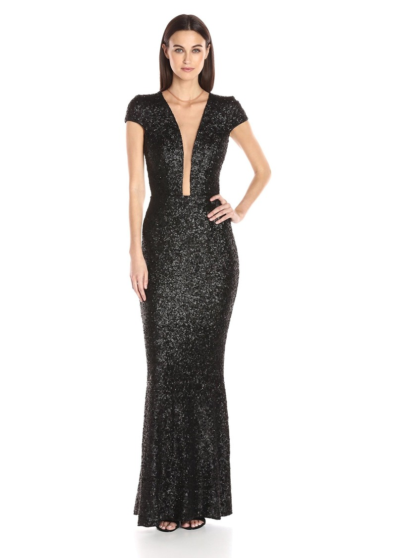 Dress the Population Women's Michelle Cap Sleeve Sequin Long Gown  L