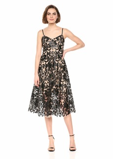 Dress the Population Women's Molly Sleeveless Sequin LACE FIT & Flare MIDI Dress  S