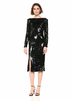 Dress the Population Women's Natalie Long Sleeve Stretch Sequin Midi Sheath Dress  l