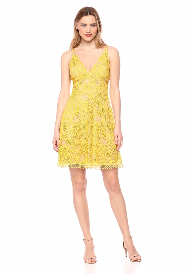 Dress the Population Women's Piper Sleeveless Lace Fit & Flare Short Dress