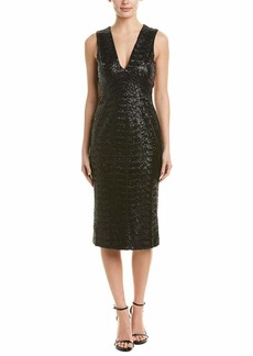DRESS THE POPULATION Women's Rani Plunging Sequin Fitted MIDI Sleeveless Sheath Dress  M
