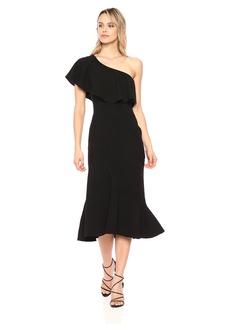 Dress the Population Women's Raquel ONE Shoulder Ruffle Mermaid MIDI Dress  L