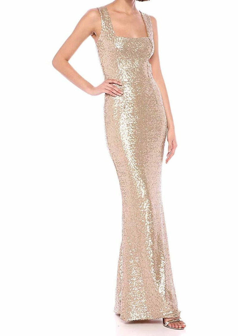 DRESS THE POPULATION Women's Raven Sleeveless Stretch Sequin Trumpet Long Gown Dress  M