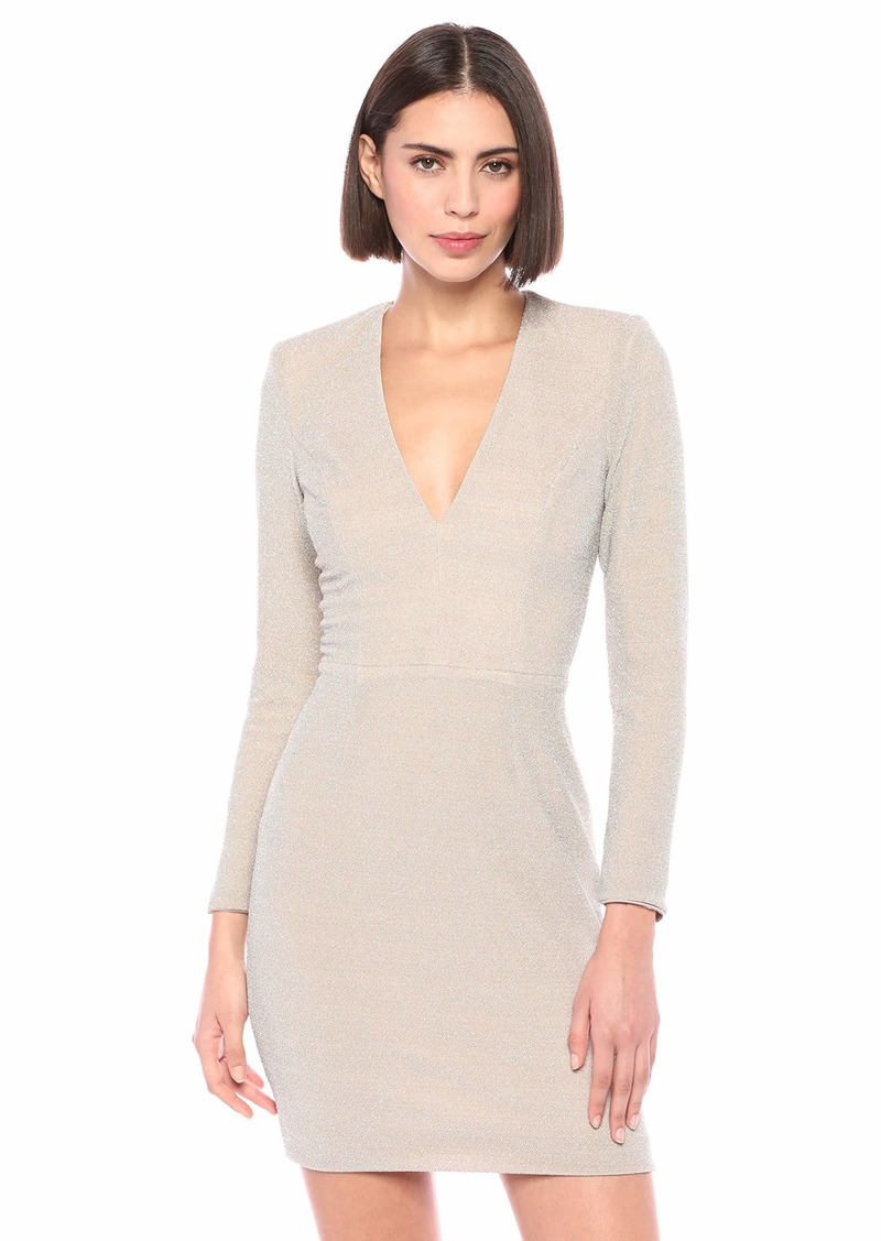 Dress the Population Women's Riley Long Sleeve Plunging Short Cocktail Dress  L