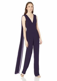 DRESS THE POPULATION Women's Robbie Crepe Sleeveless Plunging Jumpsuit with Shawl  XXS