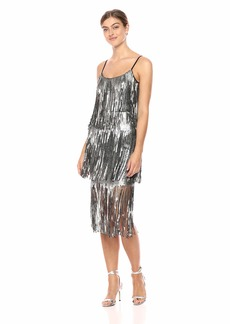Dress the Population Women's Roxy Tiered Fringe Sequin Party Dress  xs