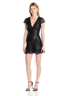 Dress the Population Women's Sabrina Sequin Lace Romper Black S