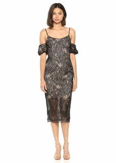 DRESS THE POPULATION Women's Sacha Cold Shoulder Lace Midi Sheath Dress  XL