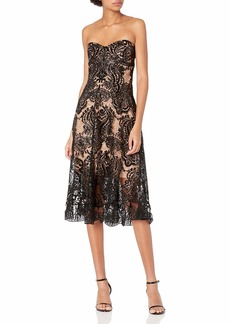 Dress the Population Women's Sadie Strapless Sequin Lace Fit & Flare Midi Dress  S