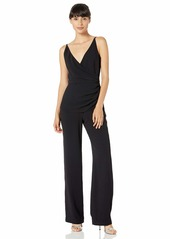 Dress the Population Women's Sam Sleeveless Shirred Wide Leg Dressy Jumpsuit  XL