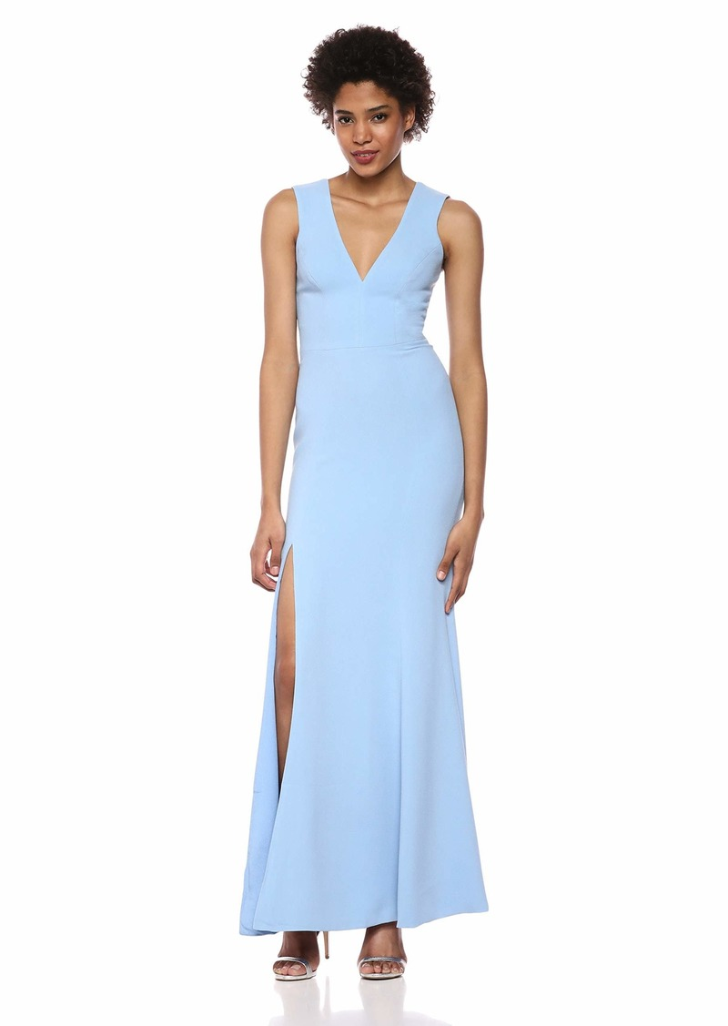 Dress the Population Women's Sandra Plunging Thick Strap Solid Gown with Slit Dress ice Blue M