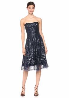 Dress the Population Women's Sarah Strapless Beaded FIT & Flare MIDI Dress  L