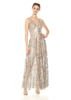 Dress the Population Women's Simone Plunging Sequin LACE FIT & Flare Sleeveless Gown  M