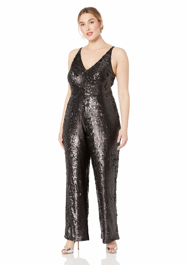 Dress the Population Women's Size Charlie Plunging Sequin Sleeveless Jumpsuit Plus  3X
