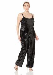 DRESS THE POPULATION Women's Size Victoria Demi Sequin Sleeveless Jumpsuit Plus  1X