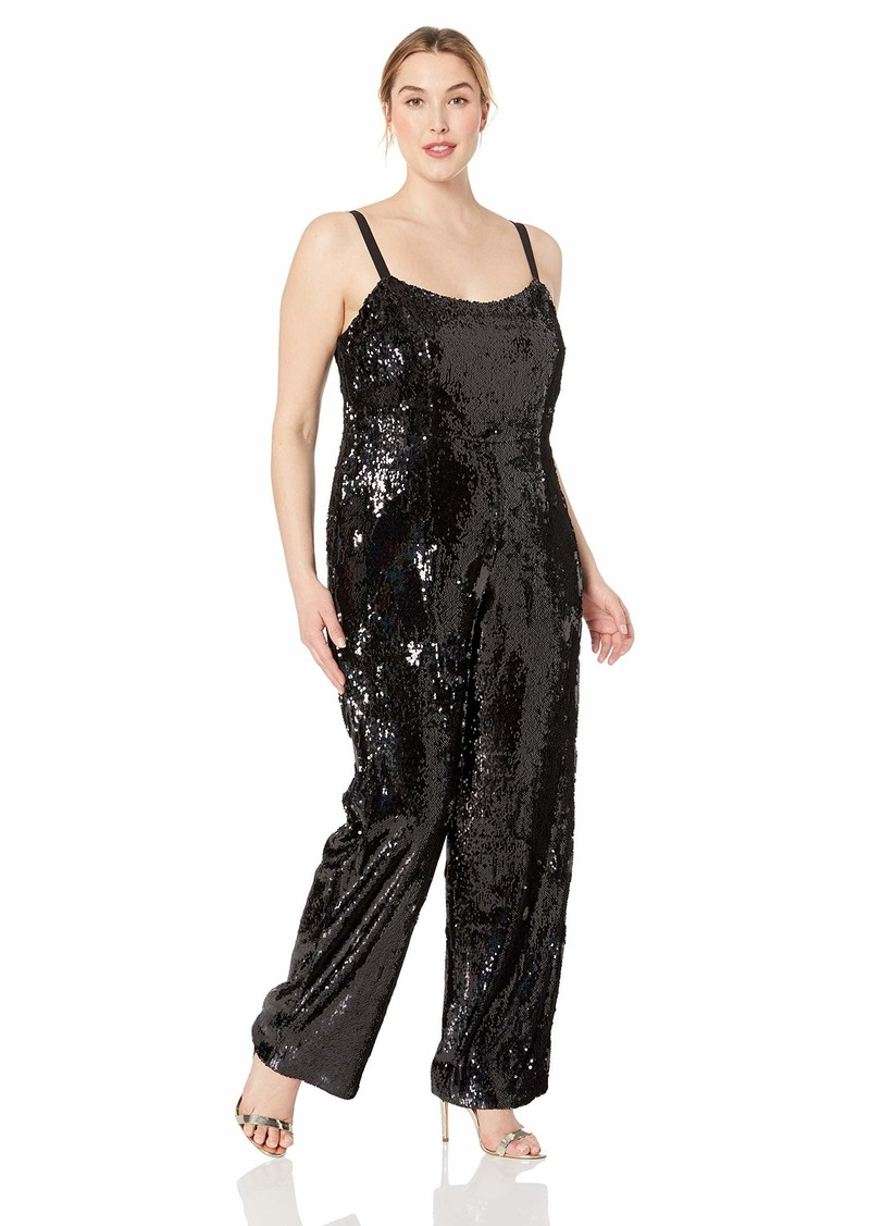 Dress the Population Women's Size Victoria Demi Sequin Sleeveless Jumpsuit Plus  1X