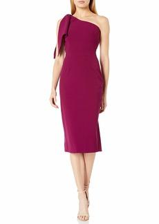 Dress the Population Women's Tiffany ONE Shoulder Bow Detail MIDI Sheath Dress  S
