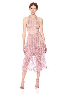 Dress the Population Women's Valerie Halter TOP Floral LACE MIDI Dress  XL