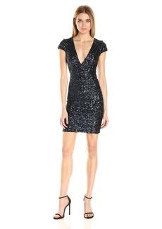 Dress the Population Women's Zoe Cap Sleeve Plunging Sequin Mini Dress  XS