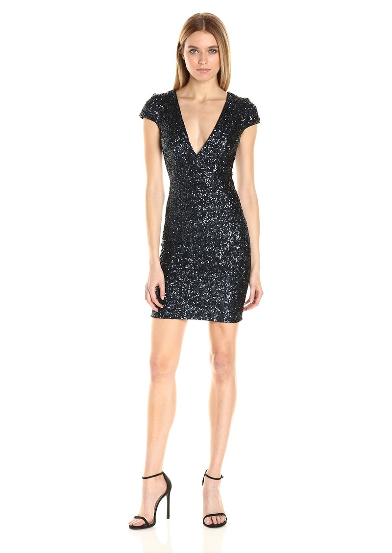 Dress the Population Women's Zoe Cap Sleeve Plunging Sequin Mini Dress  XS