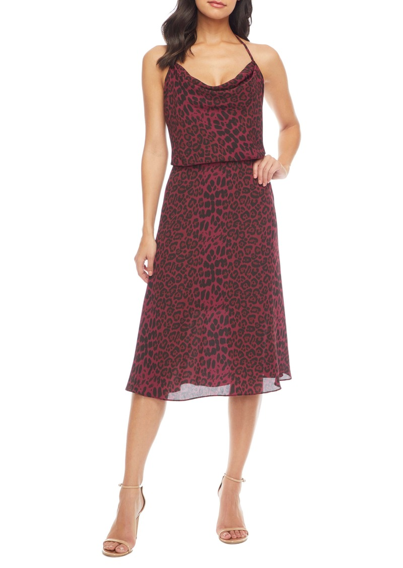 Dress the Population Zherra Leopard Print Cowl Neck Halter Dress