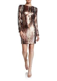 Dress the Population Fran Sequin Long Sleeve Dress