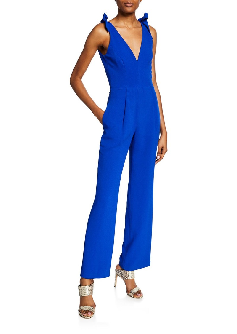 Dress the Population Maira V-Neck Sleeveless Jumpsuit with Bow Shoulder Detail
