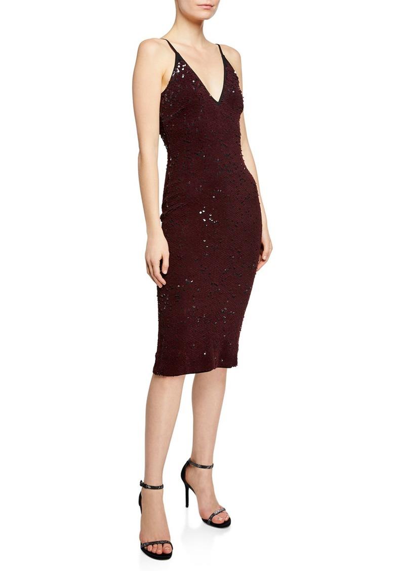 b0c89d926a9 Dress the Population Nina V-Neck Reversible Sequin Body-Con Dress