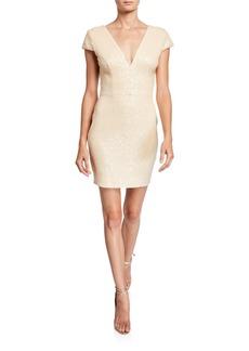 Dress the Population Zoe Sequin V-Neck Cap-Sleeve Sheath Dress