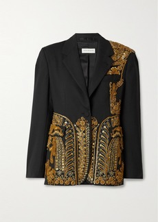 Dries Van Noten Sequin-embellished Embroidered Woven Blazer