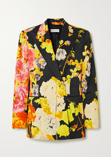 Dries Van Noten Double-breasted Floral-print Satin Blazer