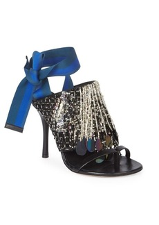 Dries Van Noten Beaded Leather Stiletto Sandals