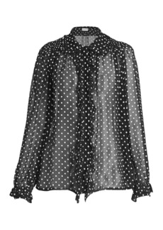 Dries Van Noten Beaded Silk Polka Dot Blouse