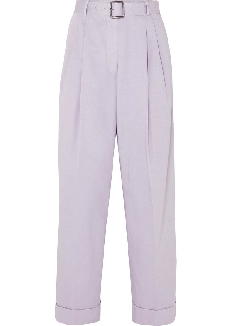 Dries Van Noten Belted Cotton-twill Tapered Pants