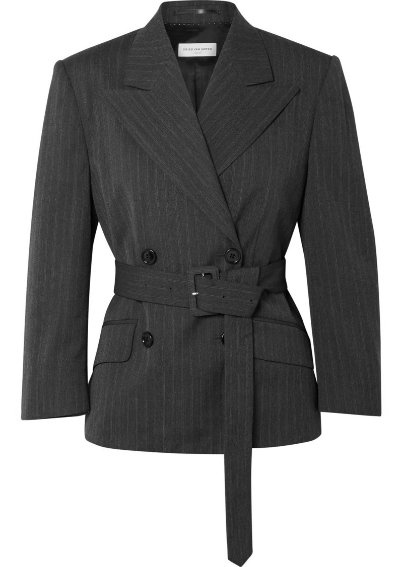 Dries Van Noten Belted Double-breasted Pinstriped Twill Blazer