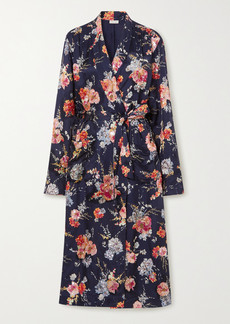 Dries Van Noten Belted Embellished Floral-print Satin Robe