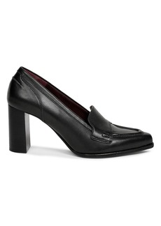Dries Van Noten Block-Heel Leather Loafer Pumps