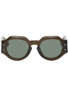 Dries Van Noten Brown Linda Farrow Edition Thick Angular Sunglasses