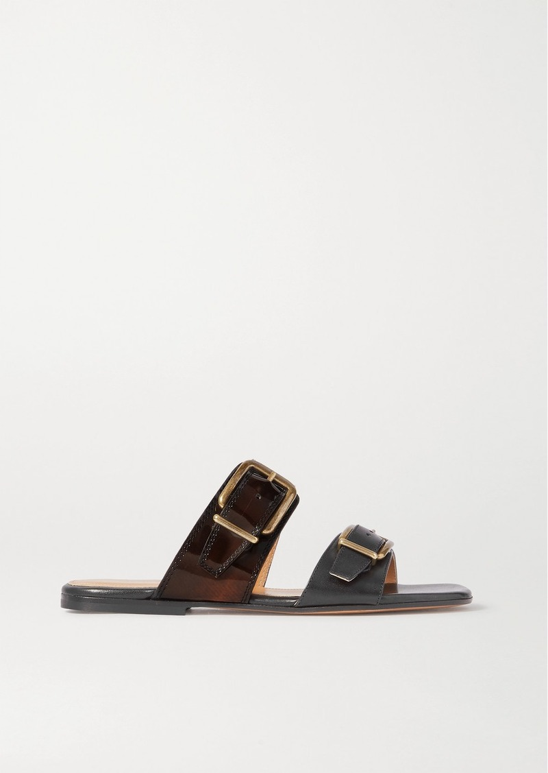 Buckle-detailed Smooth And Patent-leather Slides
