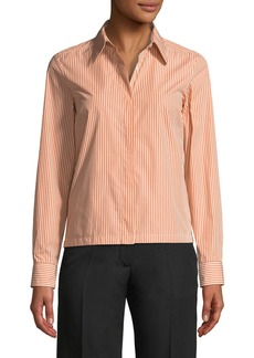 Dries Van Noten Button-Front Long-Sleeve Boxy Striped Shirt